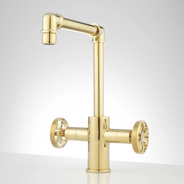 Edison Single Hole Dual Handle Brass Bathroom Faucet with Pop Up
