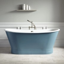 "67"" Kateryn Bateau Cast Iron Skirted Tub - Slate Blue"