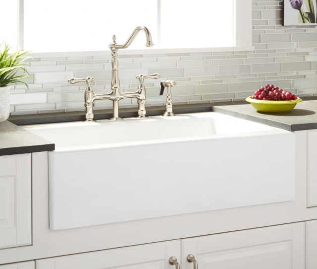 Almeria Cast Iron Farmhouse Kitchen Sink  Faucet Holes