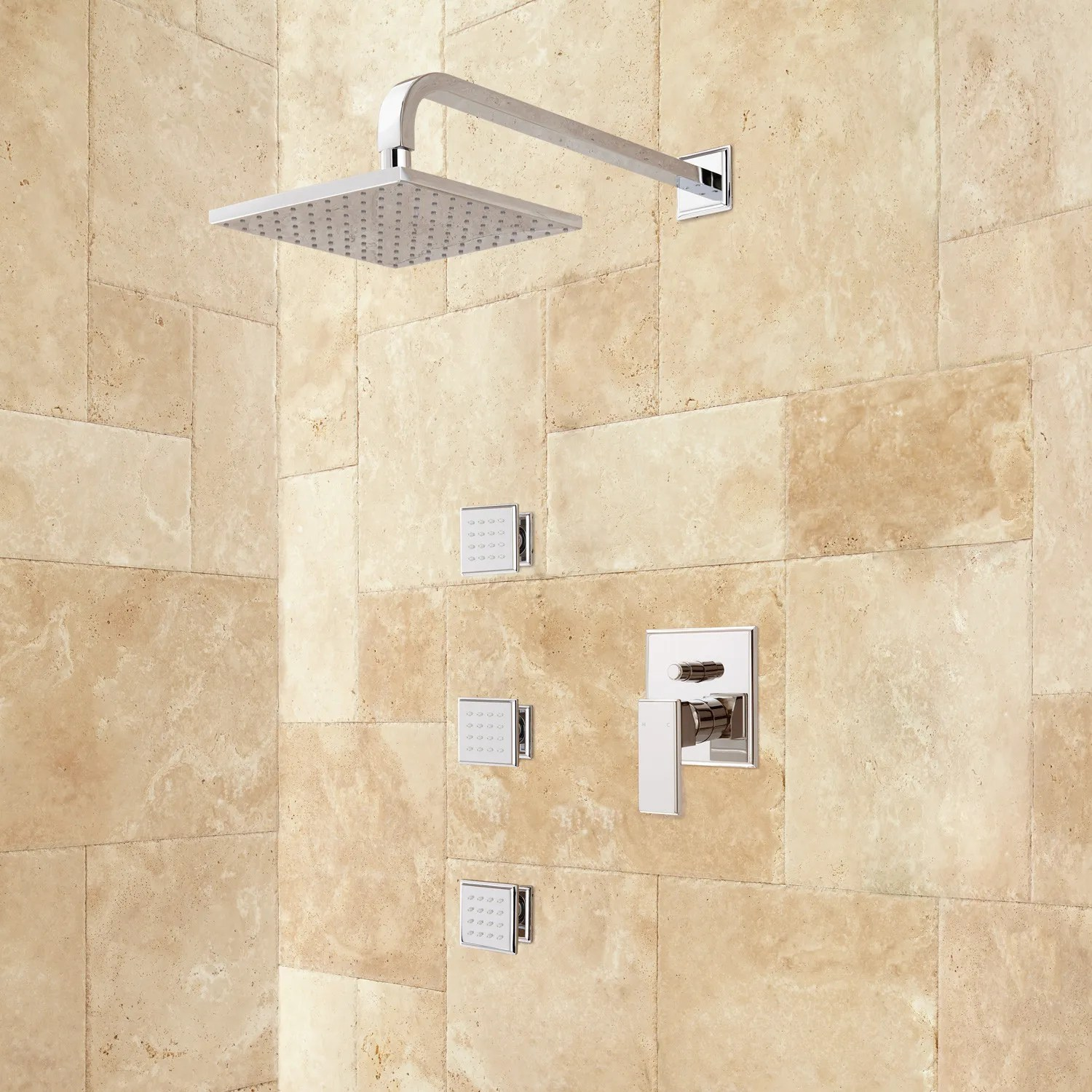 Ryle WallMount Rainfall Shower Set with Body Jets  Shower  Bathroom