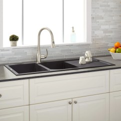 Double Kitchen Sinks Farmhouse Table Sets 46 Quot Tansi Bowl Drop In Sink With Drain Board