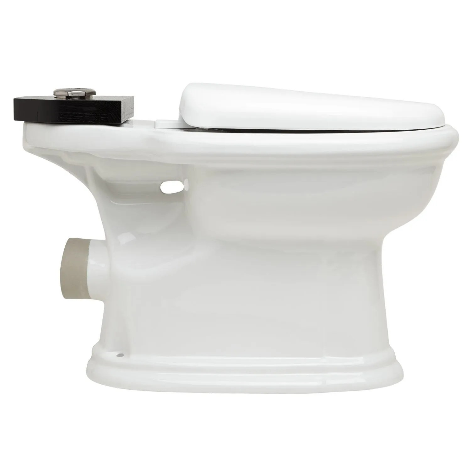Black High Tank Pull Chain Water Closet with REAR OUTLET