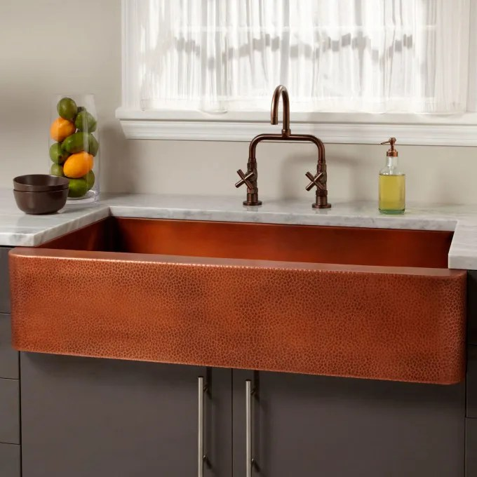 Square Hammered Copper Pedestal Sink Single Faucet Hole