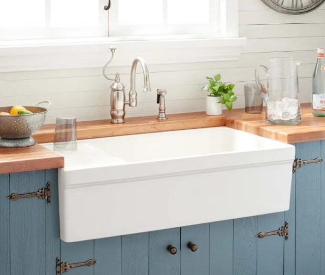Gallo Fireclay Farmhouse Sink With Drainboard Biscuit