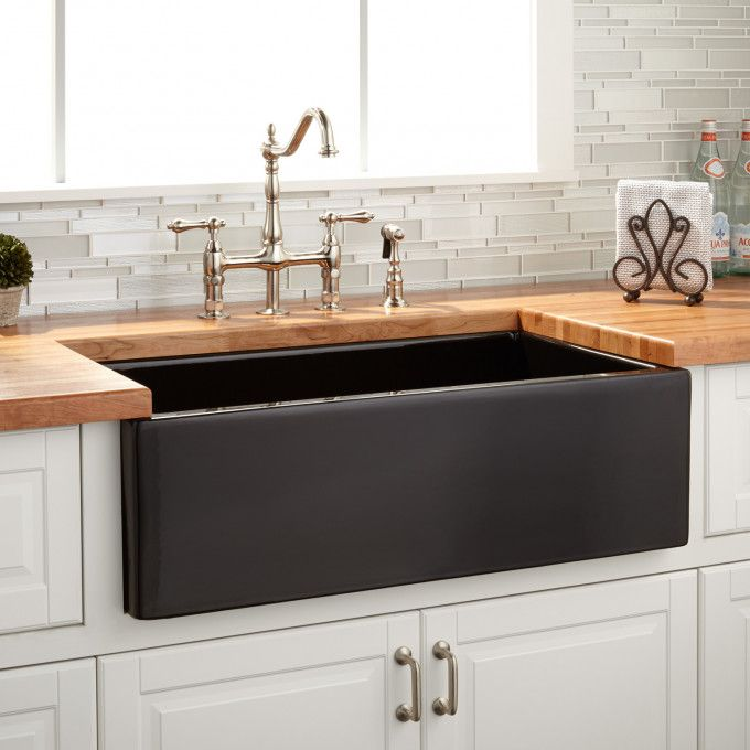 33 Grigham Reversible Farmhouse Sink  Black  Kitchen