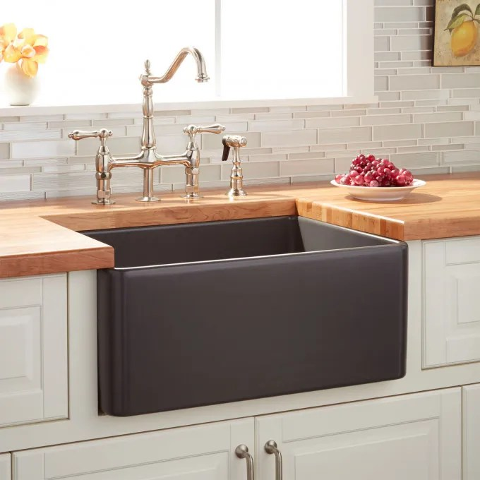24 Quot Reinhard Fireclay Farmhouse Sink Dark Gray Kitchen