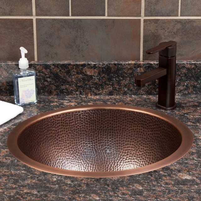 "18"" Baina Extra Deep Round Hammered Copper Sink Bathroom"