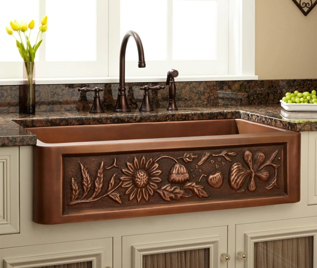 Floral Design Copper Farmhouse Sink