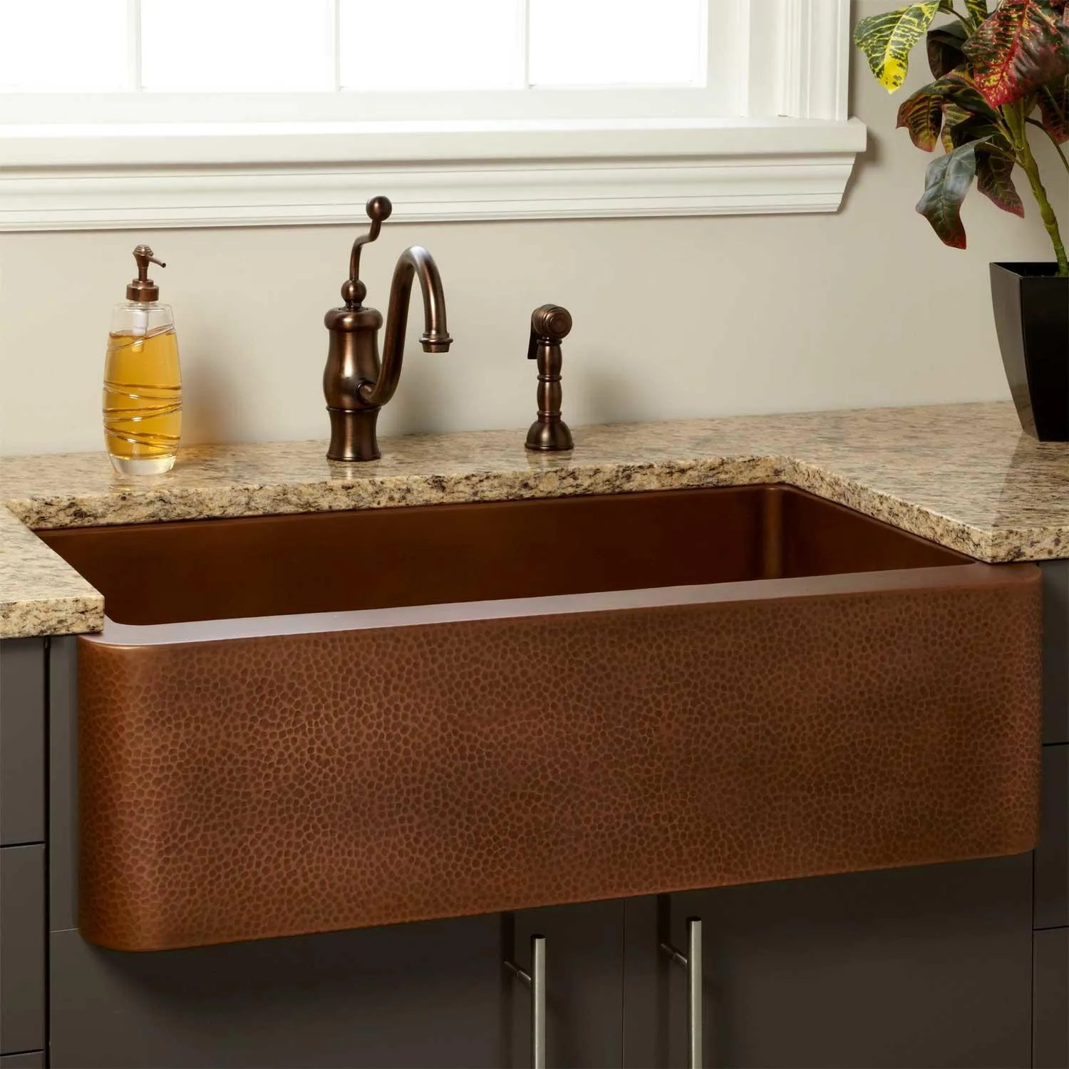 36 Vernon Hammered Copper Farmhouse Sink Kitchen