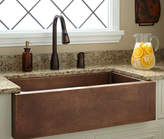 Perenna Reversible Copper Farmhouse Sink Hammered Front