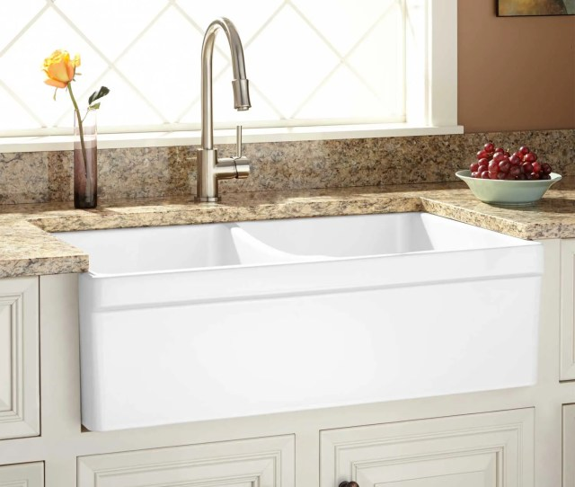 Fiammetta Double Bowl Fireclay Farmhouse Sink With Belted Apron Front White