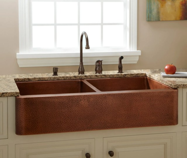 Fiona Double Bowl Hammered Copper Farmhouse Sink