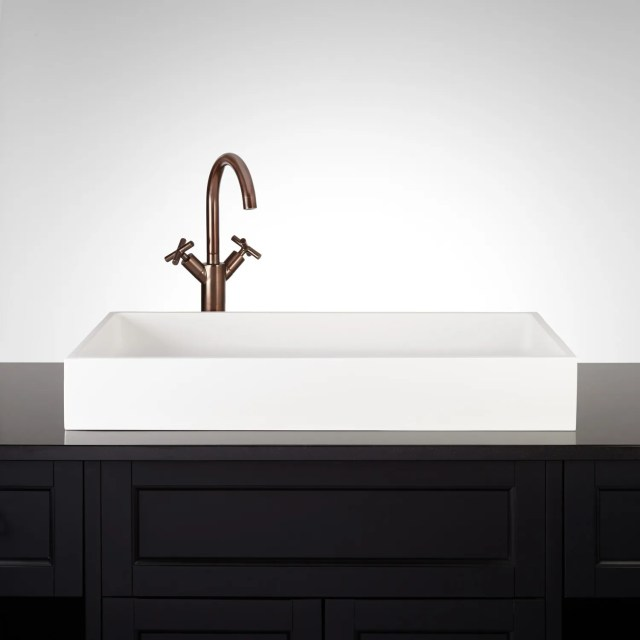 "28"" Cosima Rectangular Matte Resin Vessel Sink Bathroom"