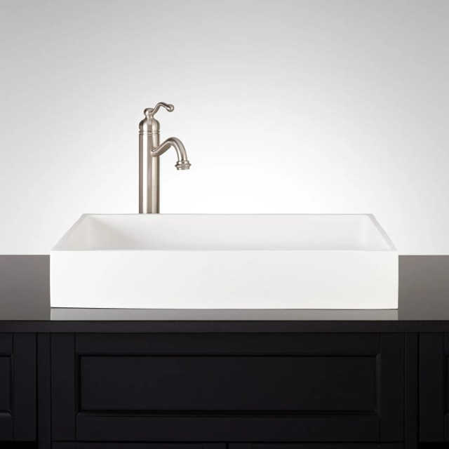 "24"" Cosima Rectangular Matte Resin Vessel Sink Bathroom"