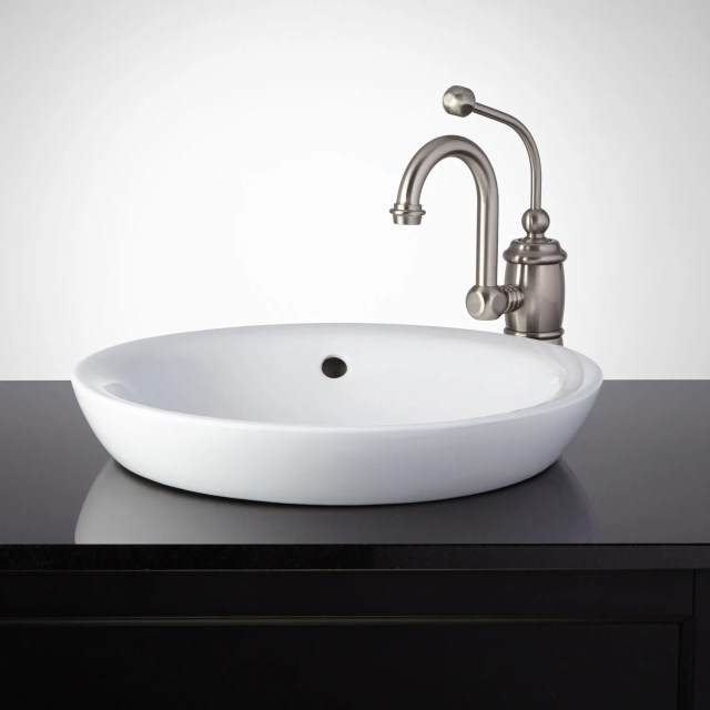 Milforde Porcelain Semi Recessed Sink Bathroom