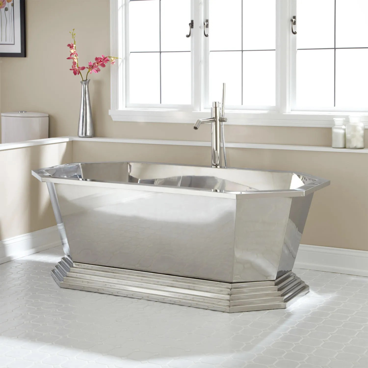 66 Selby Polished Stainless Steel Tub  Bathroom