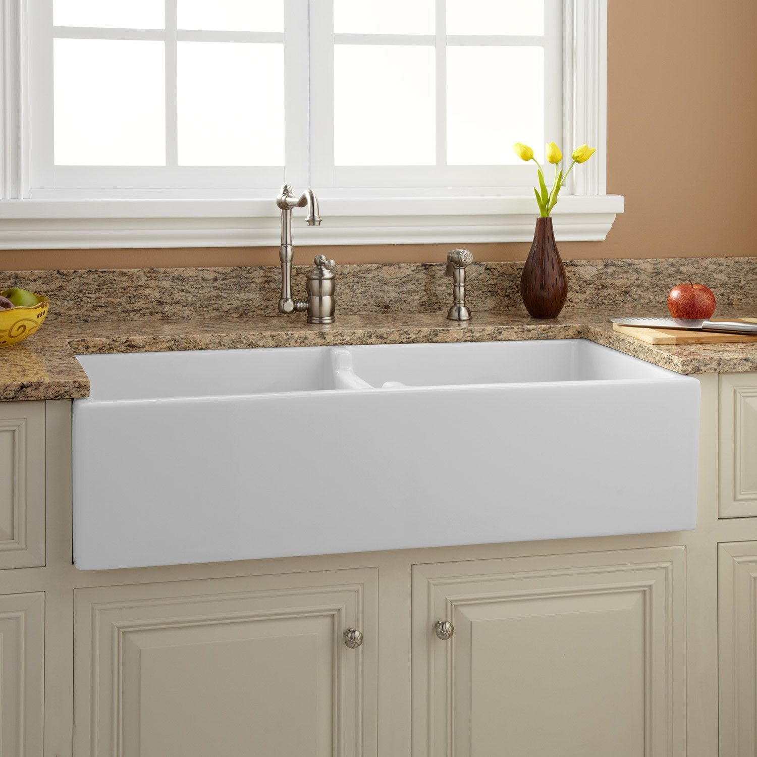 white kitchen sink home depot storage cabinets 39 quot risinger double bowl fireclay farmhouse