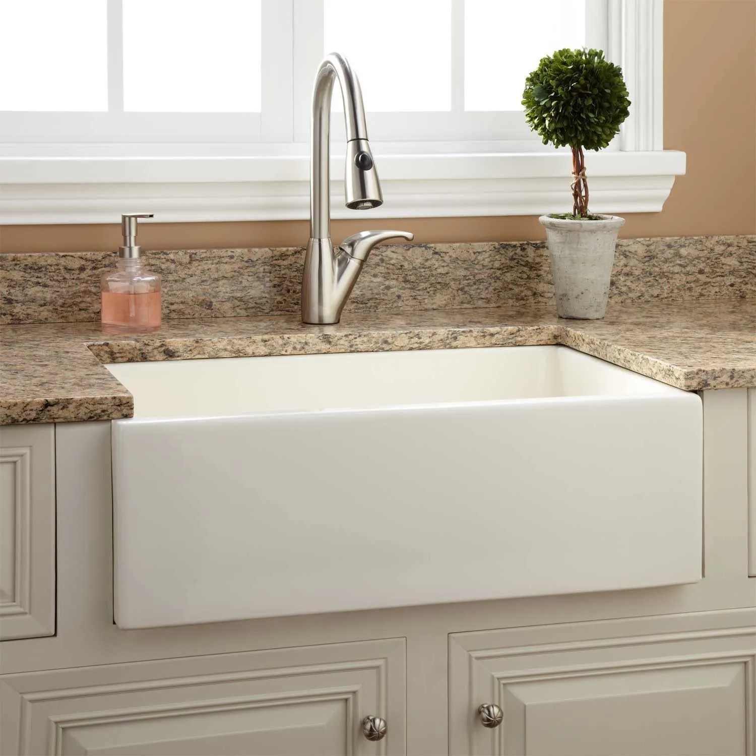 fireclay kitchen sink cabinet island 30 quot risinger reversible farmhouse smooth