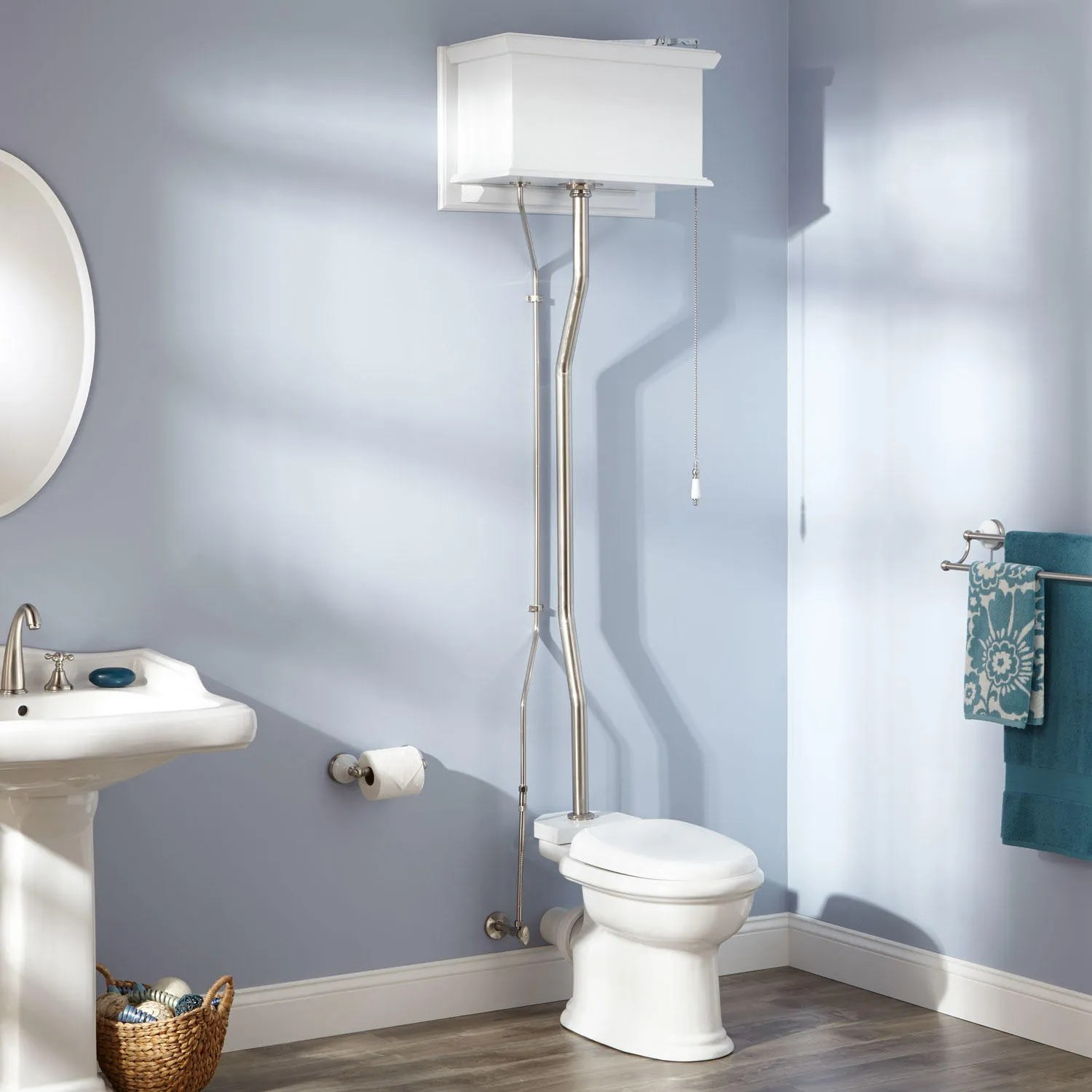 White High Tank Pull Chain Water Closet with REAR OUTLET