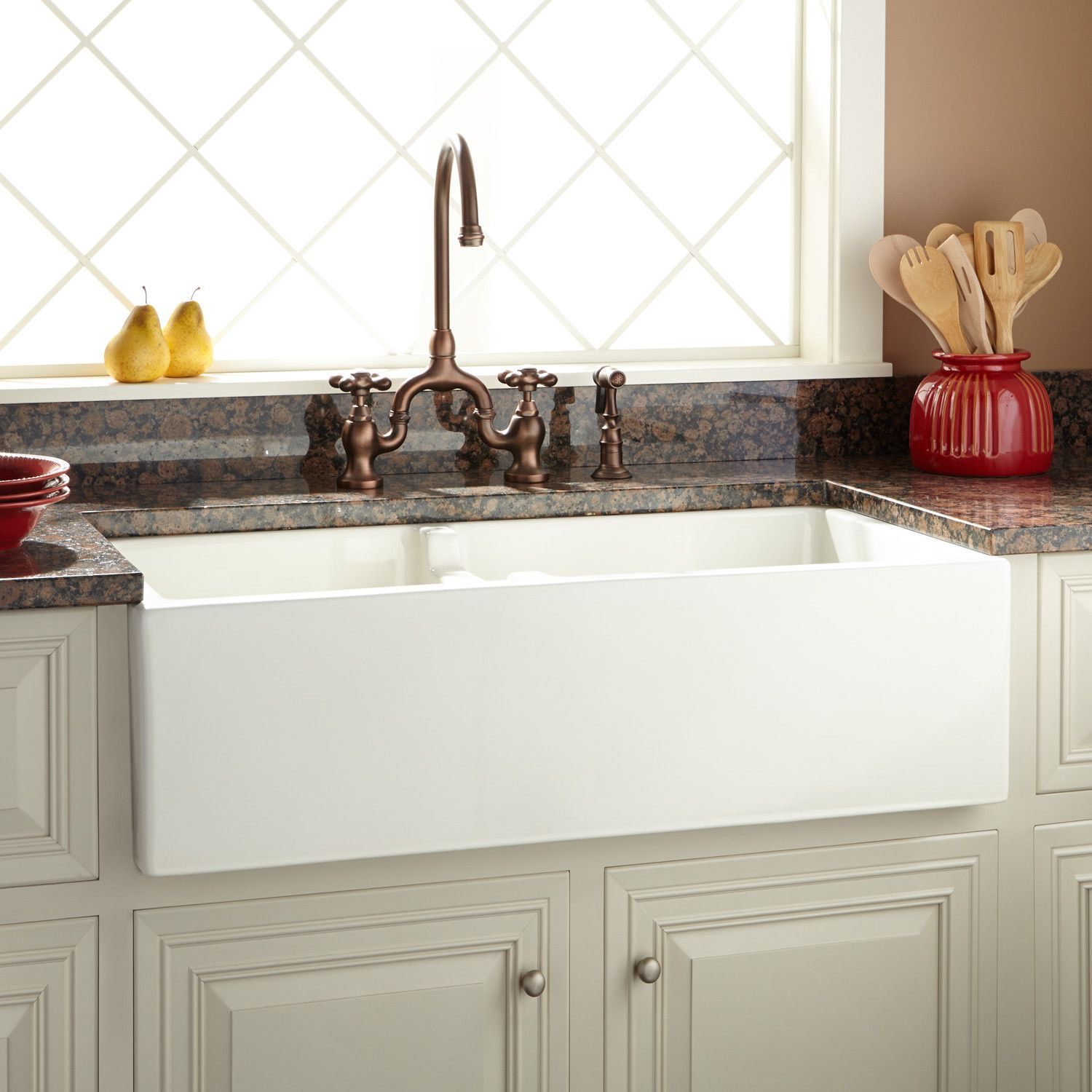 36 Risinger 6040 Offset Bowl Fireclay Farmhouse Sink