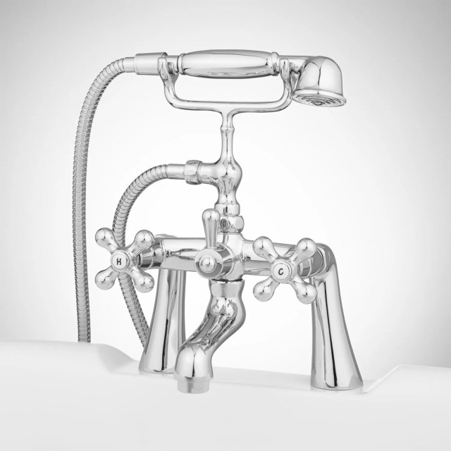 Barlow Deck Mount Tub Faucet and Hand Shower with Metal Cross