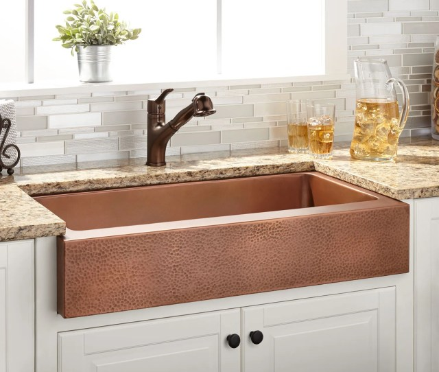 Tessa Hammered Copper Retrofit Farmhouse Sink