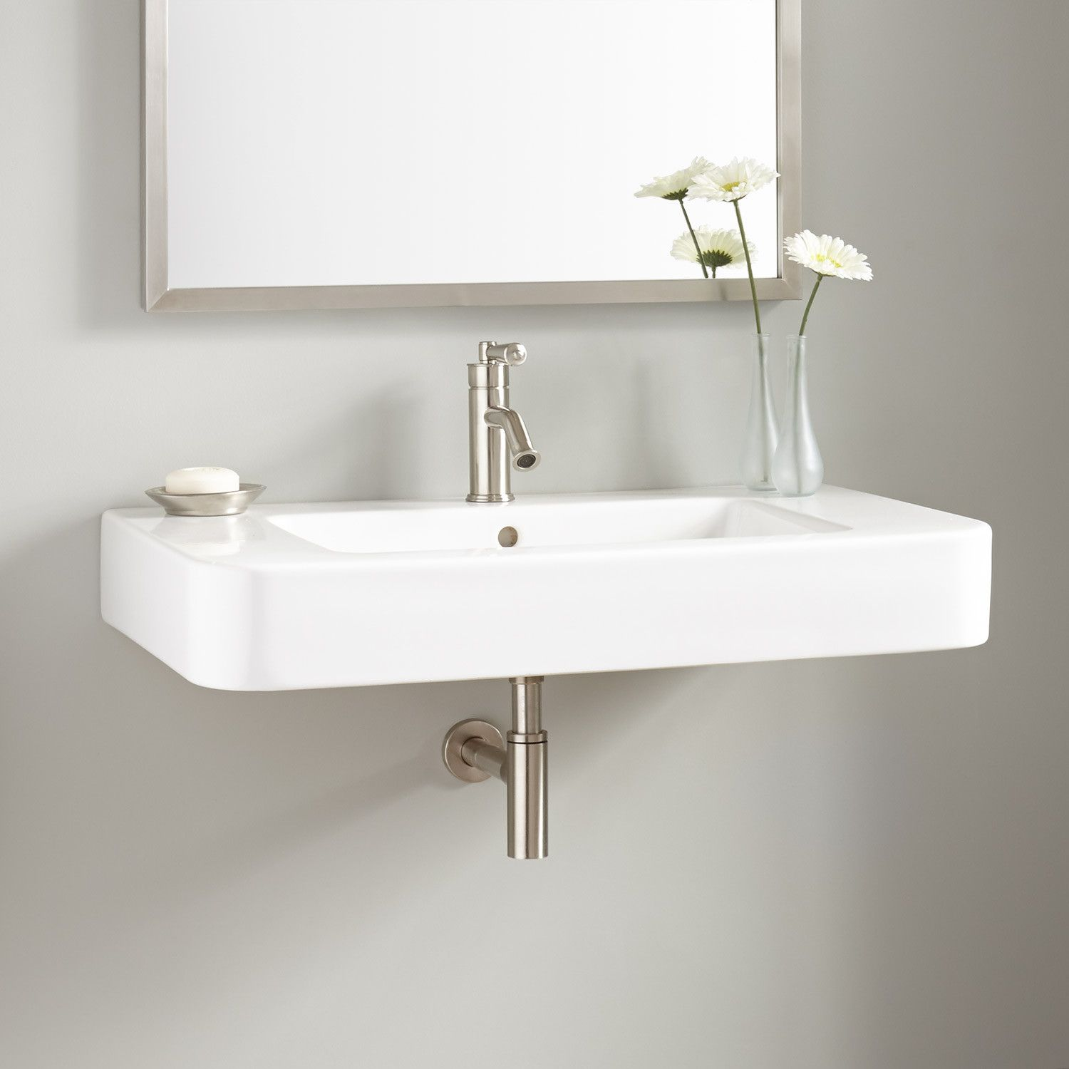 34 Burleson Porcelain WallMount Sink  Bathroom