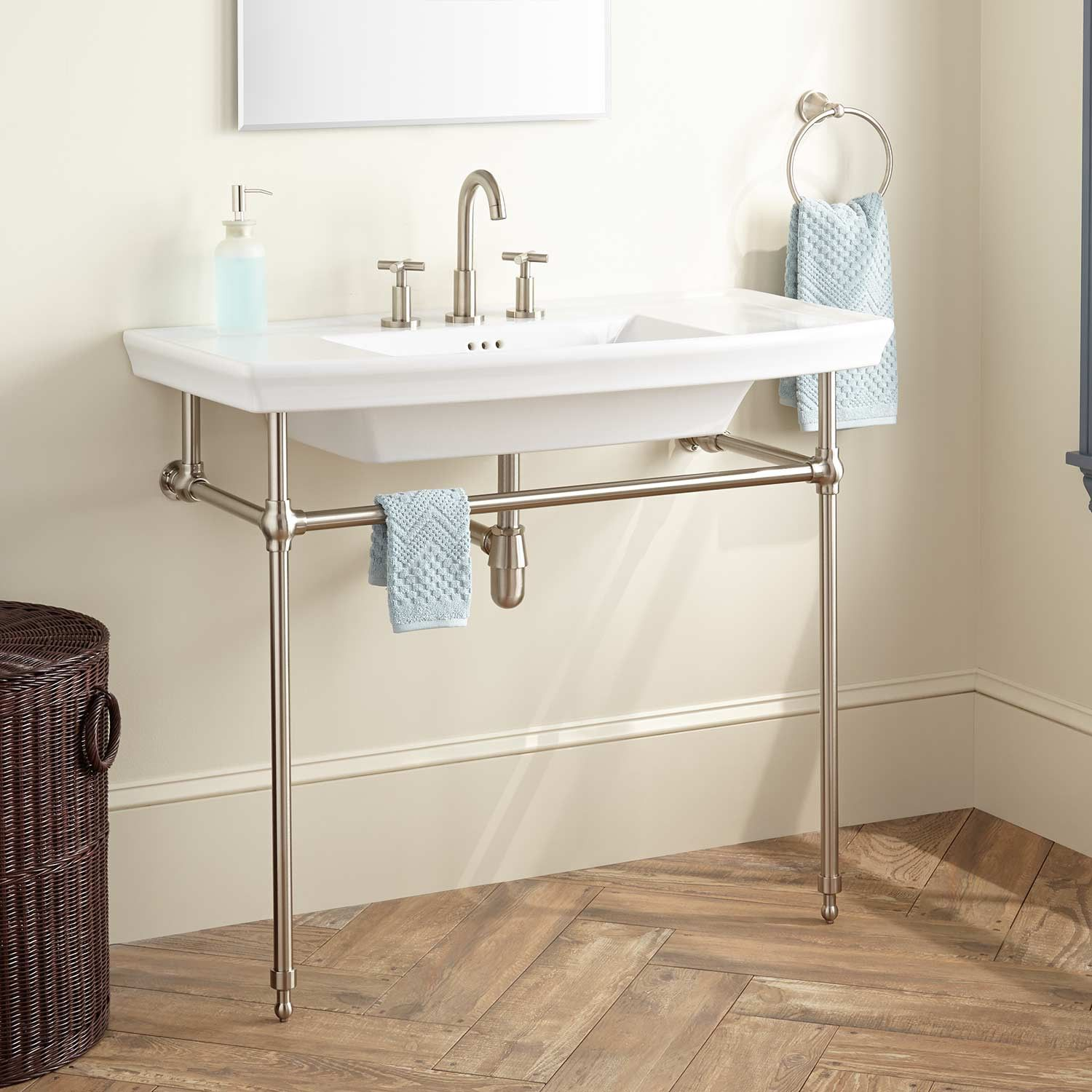 Olney Porcelain Console Sink with Brass Stand  Bathroom