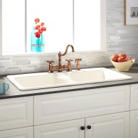 """43"""" Selkirk Bisque Double-Bowl Cast Iron Drop-in Kitchen ..."""