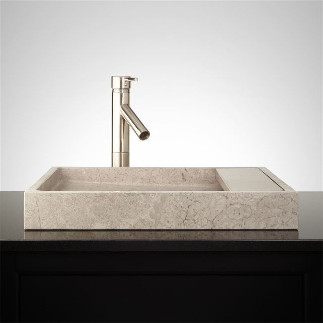 Jocasta Rectangular Marble Vessel Sink Bathroom