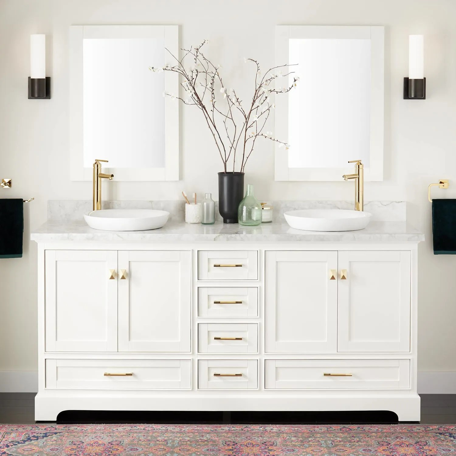 72 Quen Double Vanity For Semi Recessed Sinks White Bathroom