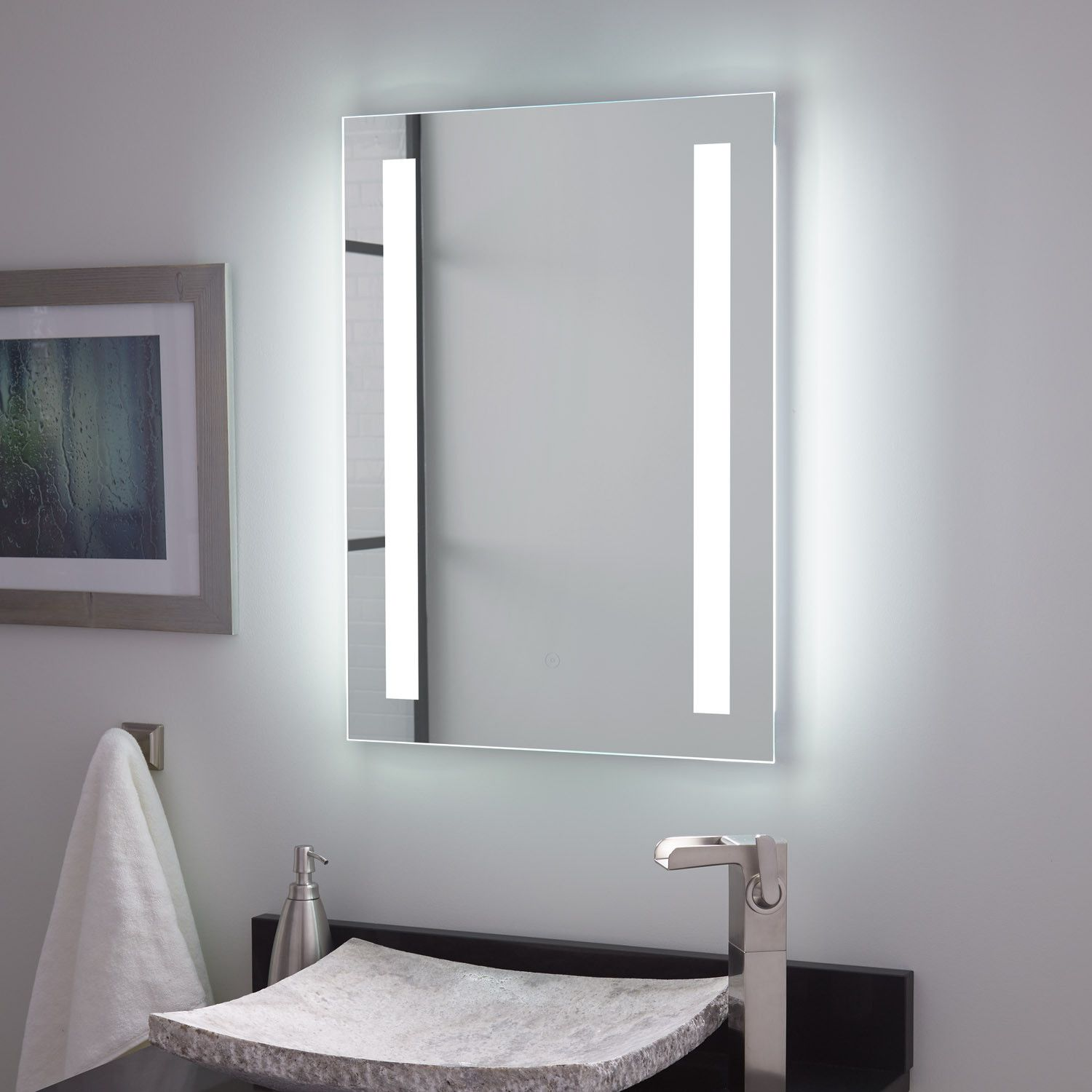 Curie Lighted Mirror With Tunable Led Bathroom
