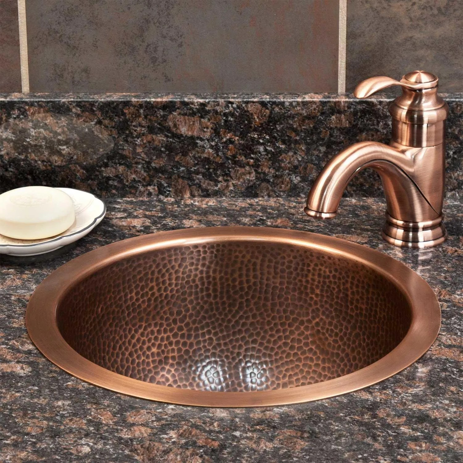 "14"" baina extra-deep round hammered copper sink - bathroom"