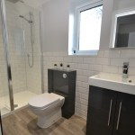 Walk in shower with recess & anthracite furniture