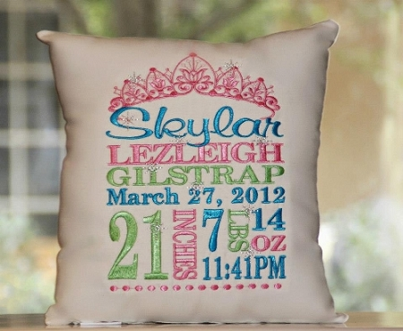 Babys Birth Announcement Personalized Pillows  Signature