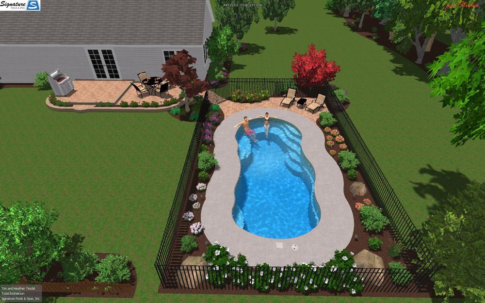 3D Swimming Pool Designs for Fiberglass Pools  Signature