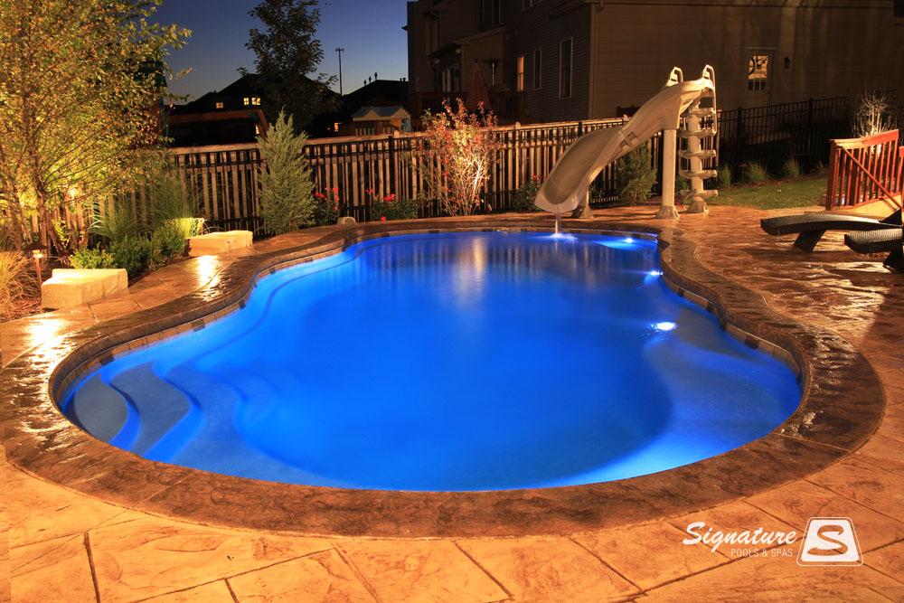 Leisure Pools Riviera Style Fiberglass Pool Signature