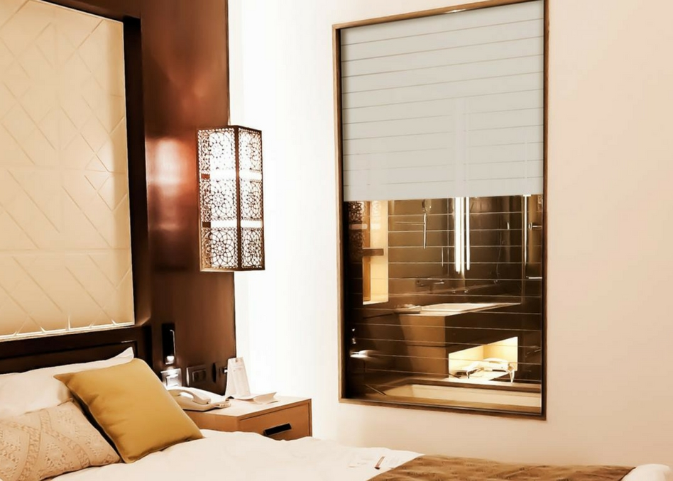 frosted switchable film in bedroom