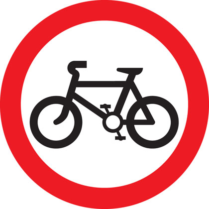 sign giving order no cycling