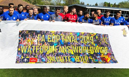 Talking Print supports Watford FC with good-luck banner