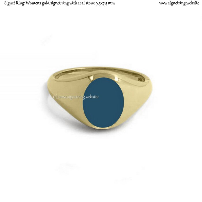 Womens gold signet ring with seal (stone 9,5x7,5 mm ~ 0