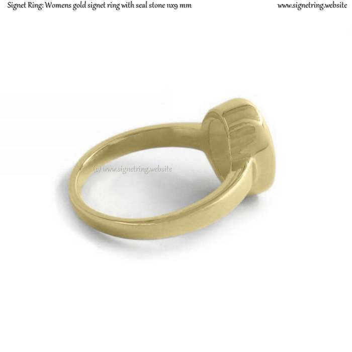 Womens gold signet ring with seal (stone 11x9 mm ~ 0.43x0