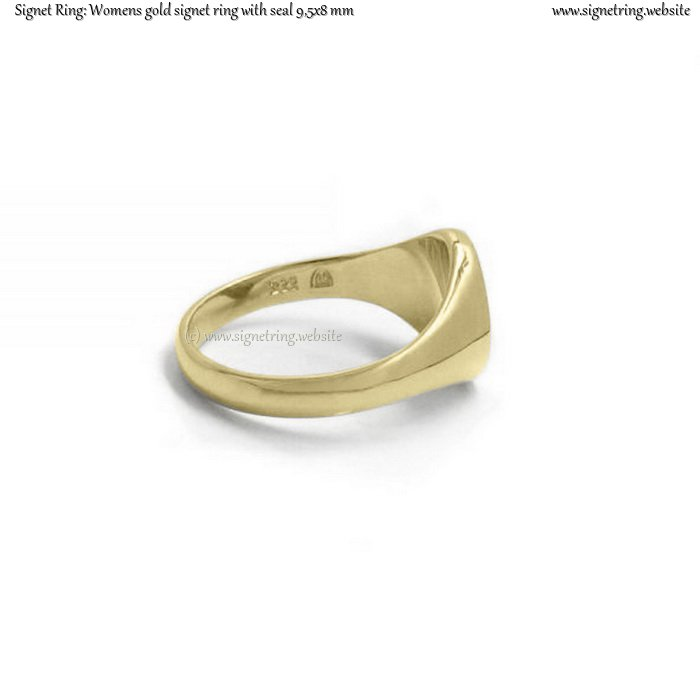 Womens gold signet ring with seal (9,5x8 mm ~ 0.35x0.31