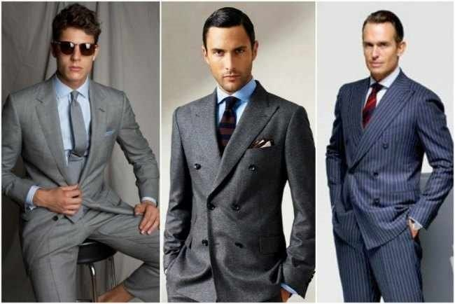 El gris marengo (en el centro) es uno de los colores fetiche en el diseño de trajes masculinos