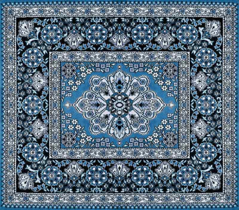 ejemplo de alfombra con tonos de color azul persa