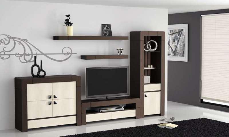 ejemplo de un salón decorado con mueble en color wengue