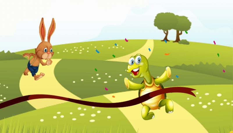 desenho da tartaruga e da lebre