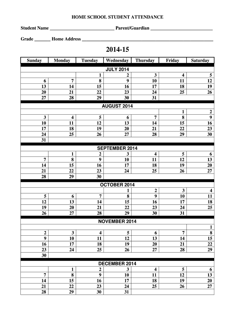 medium resolution of Homeschool Attendance Calendar - Fill Out and Sign Printable PDF Template    signNow
