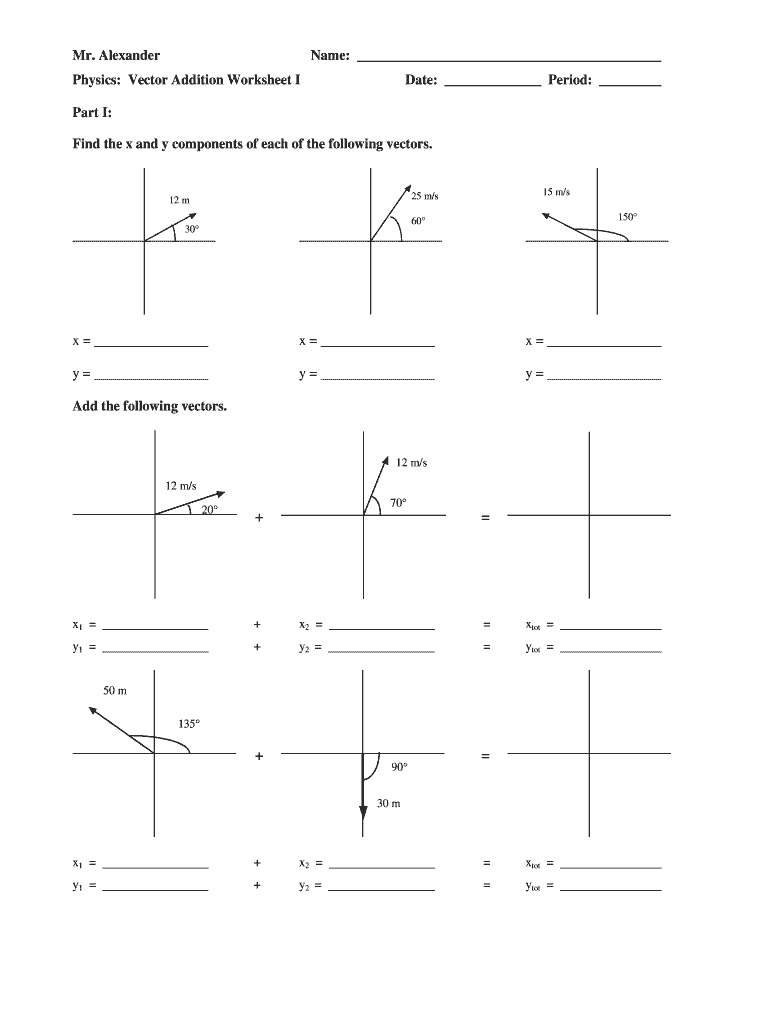 medium resolution of Vector Addition Worksheet - Fill Out and Sign Printable PDF Template    signNow