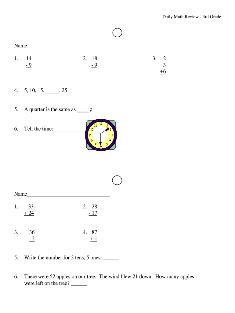 hight resolution of Daily Math 3Rd Grade Pdf - Fill Out and Sign Printable PDF Template    signNow